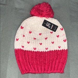 Girls Heart Designs Winter Beanie with Pom Pom
